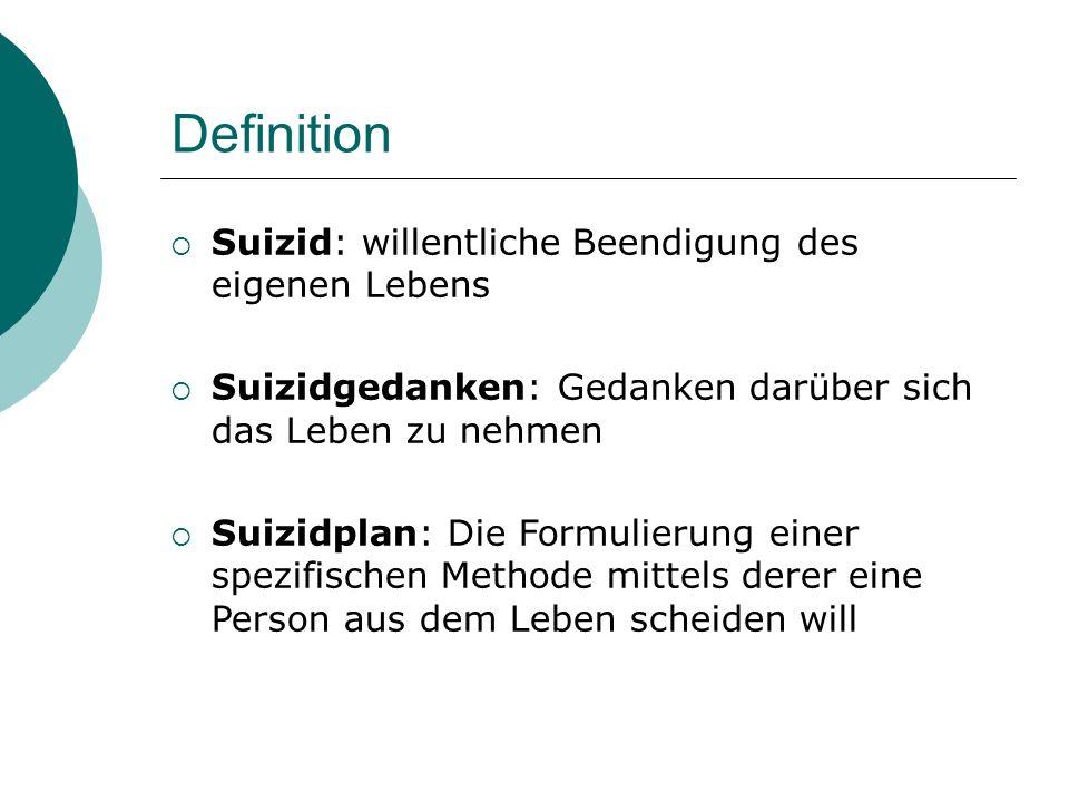Definition  Suizid: willentliche Beendigung des eigenen Lebens  Suizidgedanken: Gedanken darüber sich das Leben zu nehmen  Suizidplan: Die Formulie