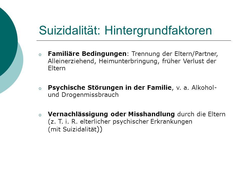 Suizidalität: Hintergrundfaktoren o Familiäre Bedingungen: Trennung der Eltern/Partner, Alleinerziehend, Heimunterbringung, früher Verlust der Eltern