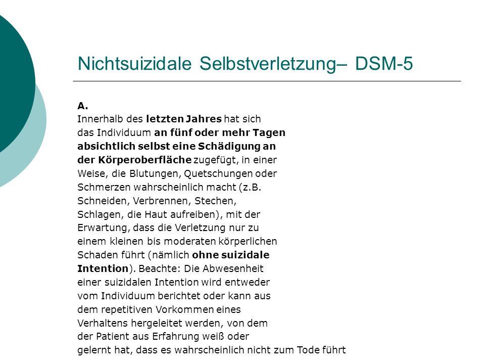 Nichtsuizidale Selbstverletzung– DSM-5 B.