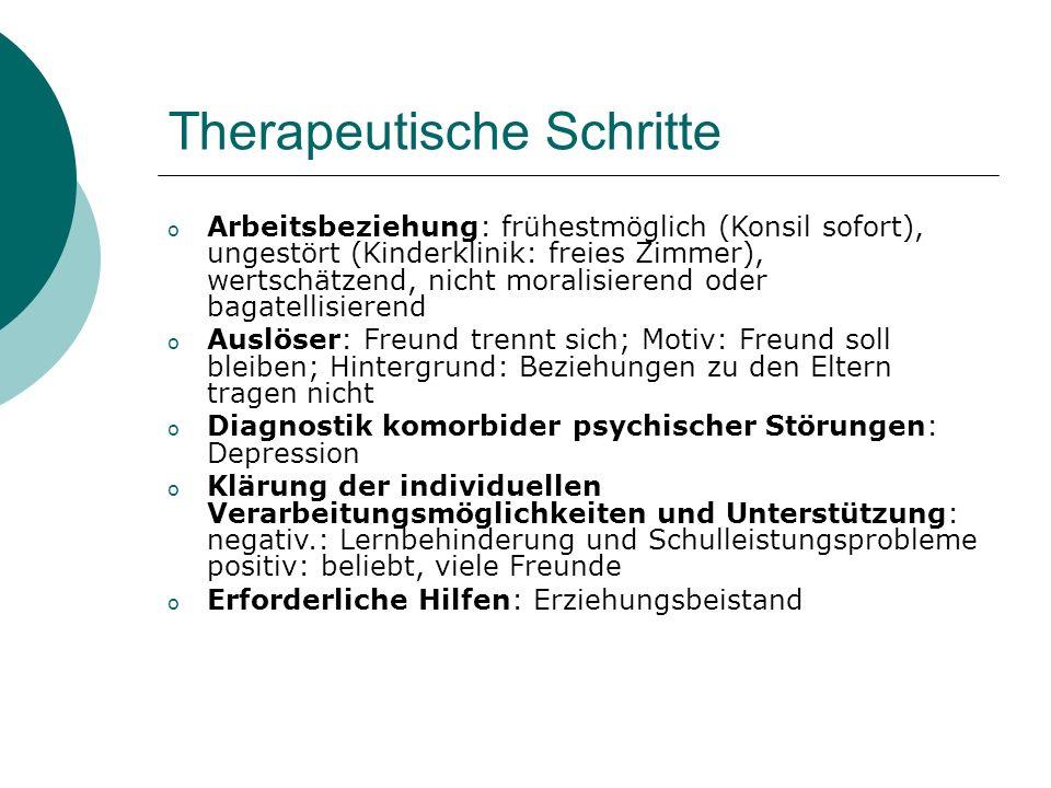 Therapeutische Schritte o Arbeitsbeziehung: frühestmöglich (Konsil sofort), ungestört (Kinderklinik: freies Zimmer), wertschätzend, nicht moralisieren
