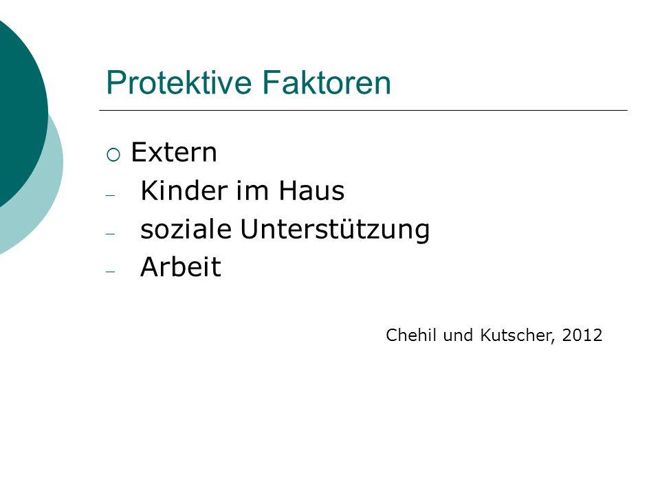 Protektive Faktoren  Extern  Kinder im Haus  soziale Unterstützung  Arbeit Chehil und Kutscher, 2012