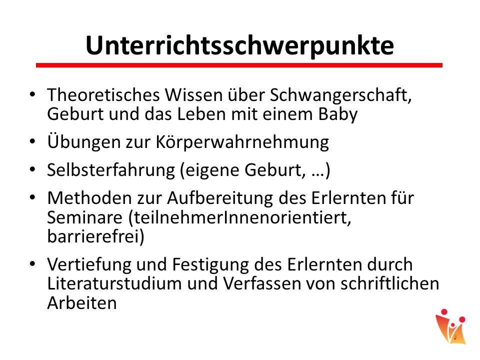 Unterrichtsschwerpunkte Theoretisches Wissen über Schwangerschaft, Geburt und das Leben mit einem Baby Übungen zur Körperwahrnehmung Selbsterfahrung (