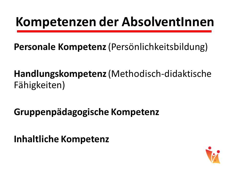 Kompetenzen der AbsolventInnen Personale Kompetenz (Persönlichkeitsbildung) Handlungskompetenz (Methodisch-didaktische Fähigkeiten) Gruppenpädagogisch