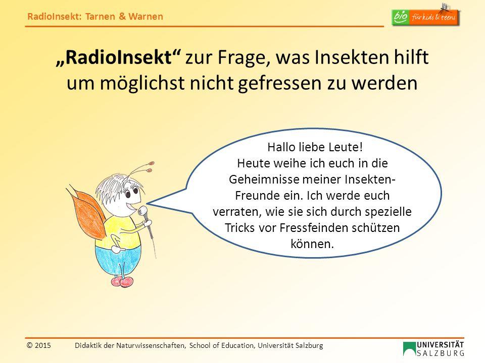 RadioInsekt: Tarnen & Warnen © 2015Didaktik der Naturwissenschaften, School of Education, Universität Salzburg Jetzt weißt du, wie Insekten versuchen, sich vor Fressfeinden zu schützen.