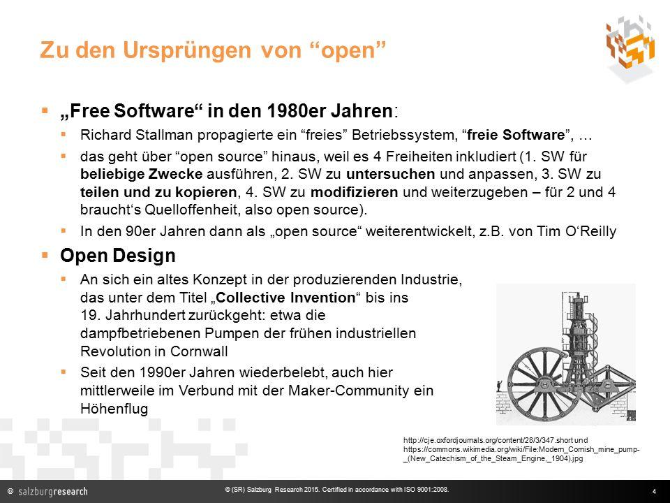 """© Zu den Ursprüngen von open  """"Free Software in den 1980er Jahren:  Richard Stallman propagierte ein freies Betriebssystem, freie Software , …  das geht über open source hinaus, weil es 4 Freiheiten inkludiert (1."""