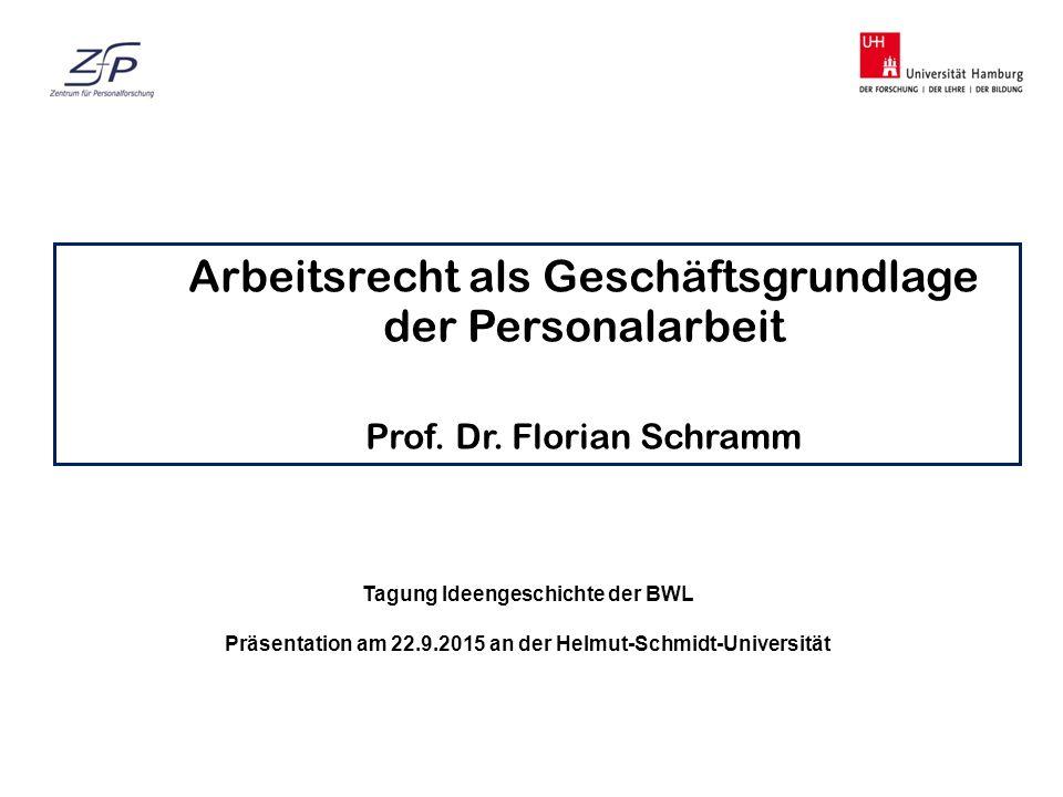 Arbeitsrecht als Geschäftsgrundlage der Personalarbeit Prof. Dr. Florian Schramm Tagung Ideengeschichte der BWL Präsentation am 22.9.2015 an der Helmu