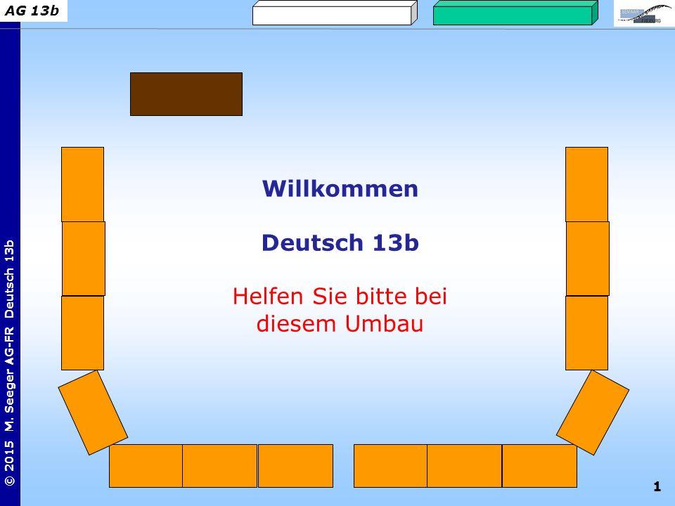 1 © 2015 M. Seeger AG-FR Deutsch 13b AG 13b Willkommen Deutsch 13b Helfen Sie bitte bei diesem Umbau
