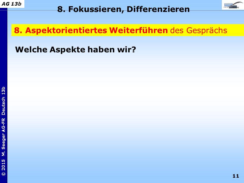 11 © 2015 M. Seeger AG-FR Deutsch 13b AG 13b 8. Aspektorientiertes Weiterführen des Gesprächs 8. Fokussieren, Differenzieren Welche Aspekte haben wir?
