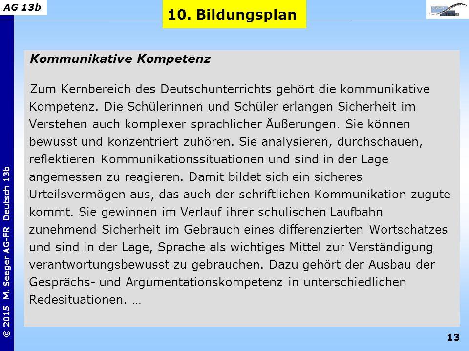 13 © 2015 M. Seeger AG-FR Deutsch 13b AG 13b Kommunikative Kompetenz Zum Kernbereich des Deutschunterrichts gehört die kommunikative Kompetenz. Die Sc