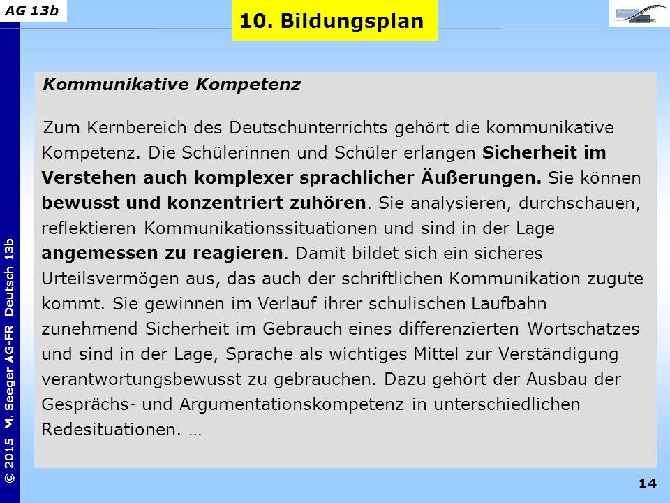 14 © 2015 M. Seeger AG-FR Deutsch 13b AG 13b Kommunikative Kompetenz Zum Kernbereich des Deutschunterrichts gehört die kommunikative Kompetenz. Die Sc