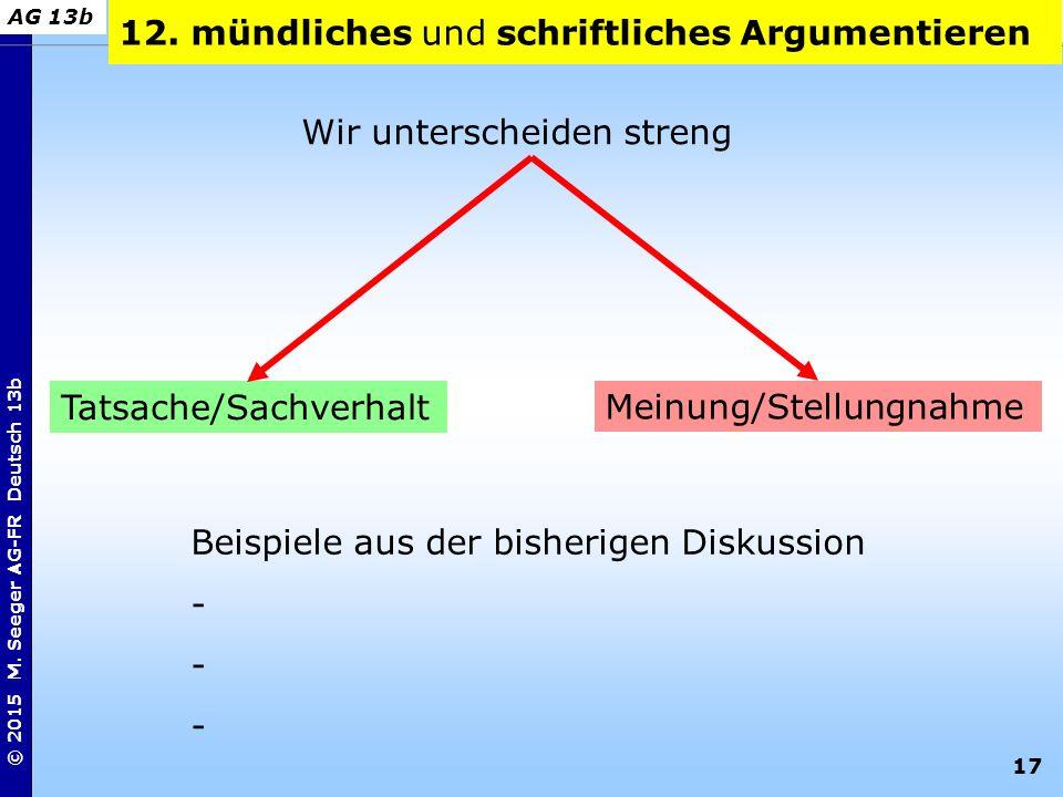 17 © 2015 M. Seeger AG-FR Deutsch 13b AG 13b Wir unterscheiden streng 12. mündliches und schriftliches Argumentieren Tatsache/Sachverhalt Meinung/Stel