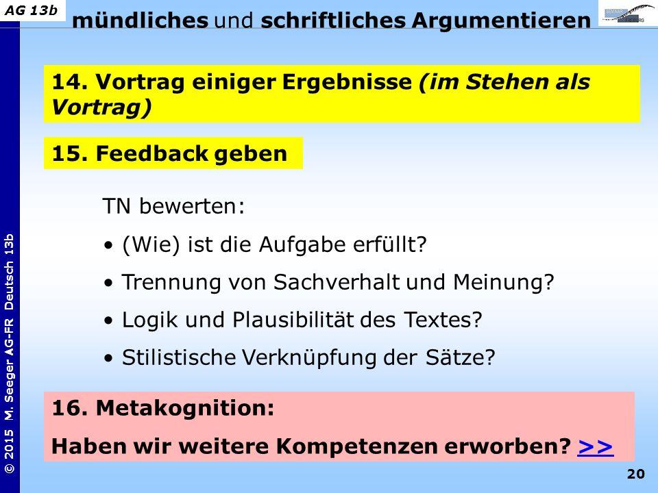 20 © 2015 M. Seeger AG-FR Deutsch 13b AG 13b mündliches und schriftliches Argumentieren 14. Vortrag einiger Ergebnisse (im Stehen als Vortrag) 15. Fee