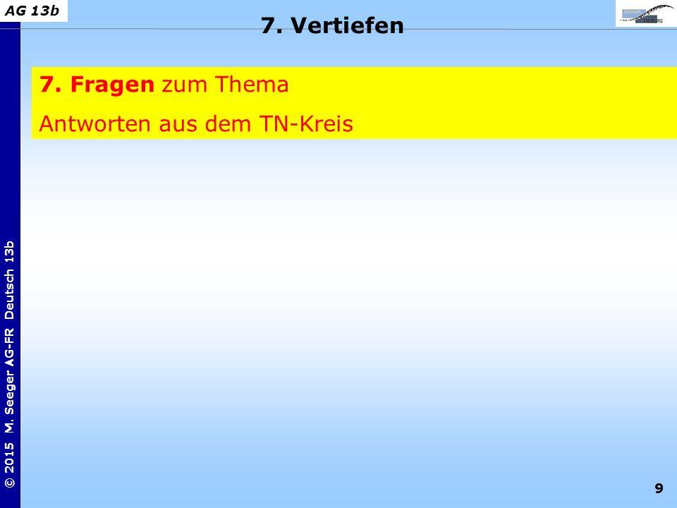 9 © 2015 M. Seeger AG-FR Deutsch 13b AG 13b 7. Fragen zum Thema Antworten aus dem TN-Kreis 7. Vertiefen