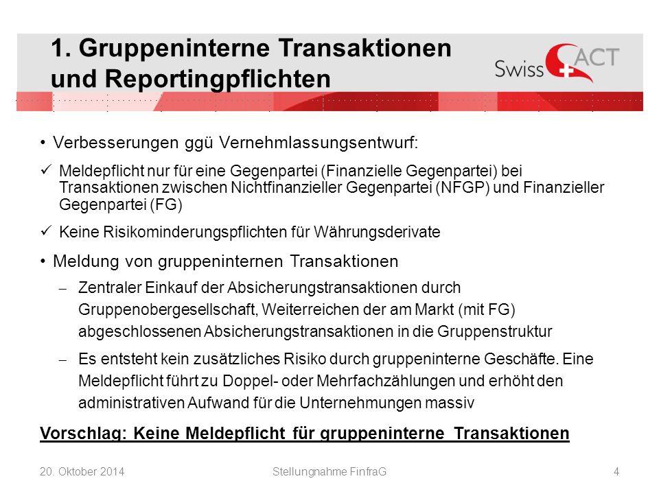 1. Gruppeninterne Transaktionen und Reportingpflichten Verbesserungen ggü Vernehmlassungsentwurf: Meldepflicht nur für eine Gegenpartei (Finanzielle G