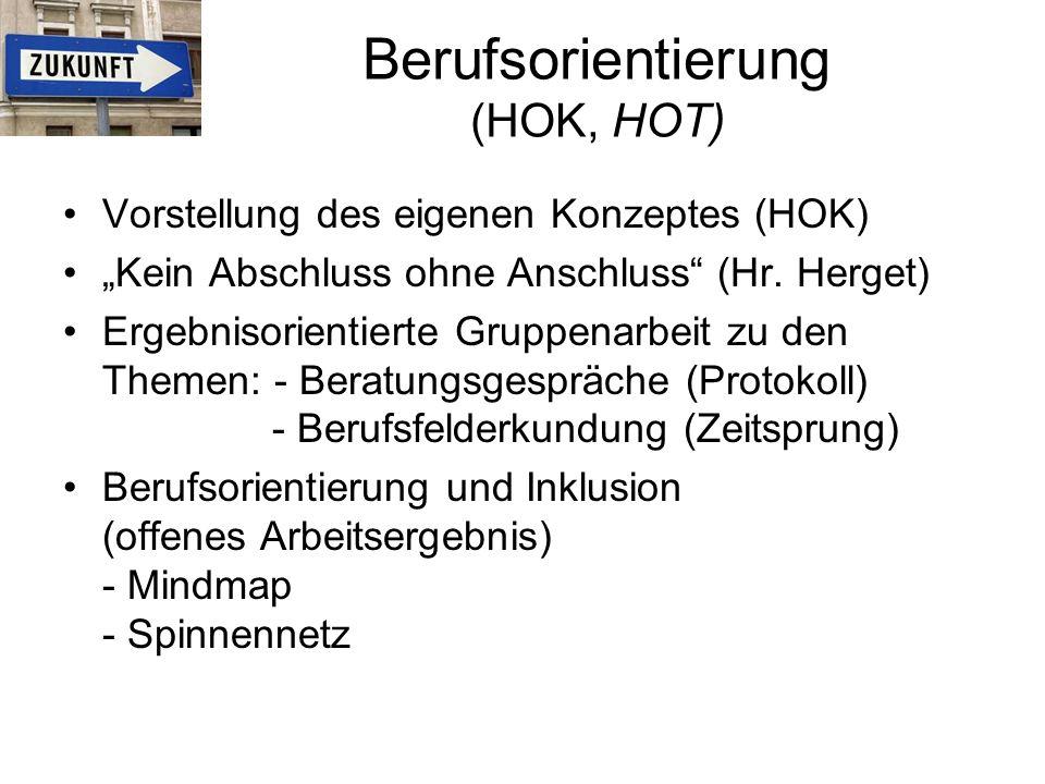 """Berufsorientierung (HOK, HOT) Vorstellung des eigenen Konzeptes (HOK) """"Kein Abschluss ohne Anschluss (Hr."""