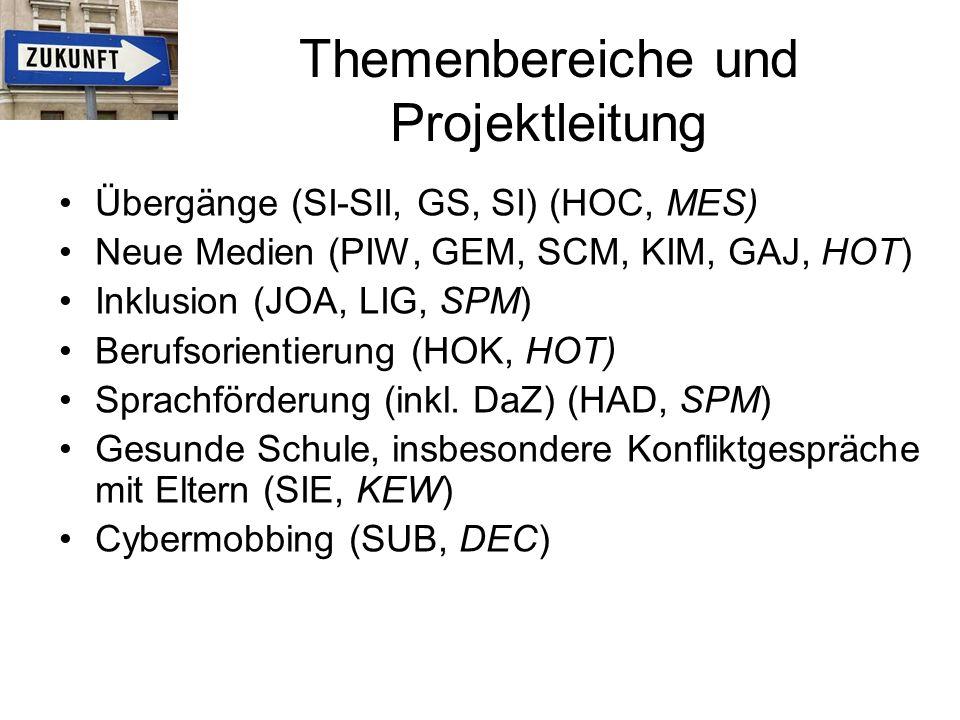 Themenbereiche und Projektleitung Übergänge (SI-SII, GS, SI) (HOC, MES) Neue Medien (PIW, GEM, SCM, KIM, GAJ, HOT) Inklusion (JOA, LIG, SPM) Berufsorientierung (HOK, HOT) Sprachförderung (inkl.