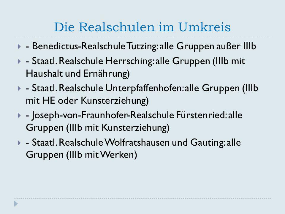 Die Realschulen im Umkreis  - Benedictus-Realschule Tutzing: alle Gruppen außer IIIb  - Staatl.