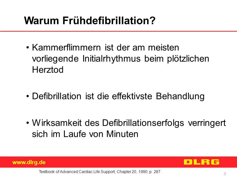 www.dlrg.de 3 Warum Frühdefibrillation? Kammerflimmern ist der am meisten vorliegende Initialrhythmus beim plötzlichen Herztod Defibrillation ist die