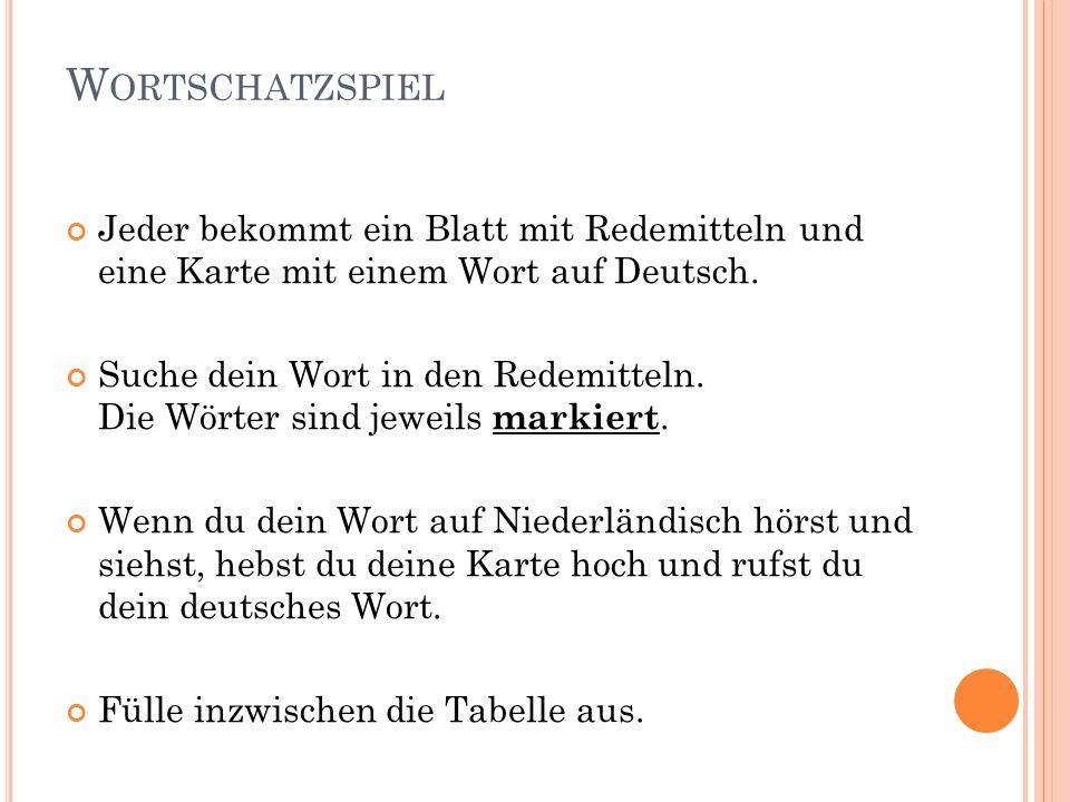 W ORTSCHATZSPIEL Jeder bekommt ein Blatt mit Redemitteln und eine Karte mit einem Wort auf Deutsch.