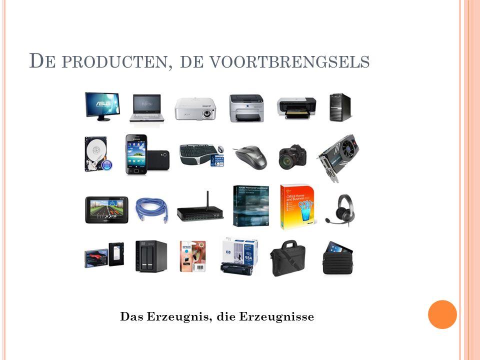 D E PRODUCTEN, DE VOORTBRENGSELS Das Erzeugnis, die Erzeugnisse