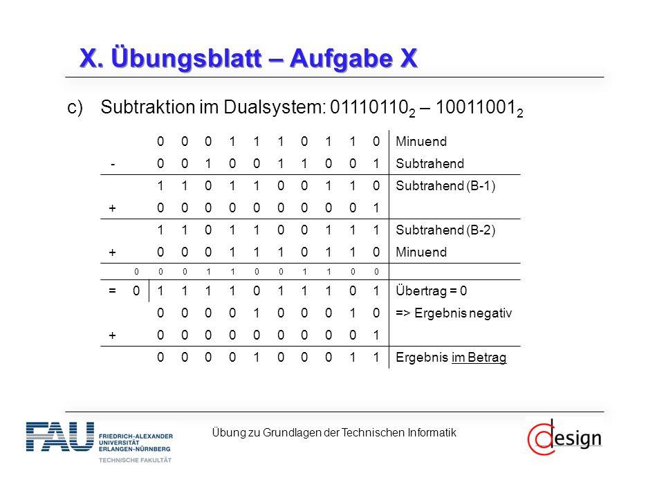 X. Übungsblatt – Aufgabe X c)Subtraktion im Dualsystem: 01110110 2 – 10011001 2 Übung zu Grundlagen der Technischen Informatik 0001110110Minuend -0010