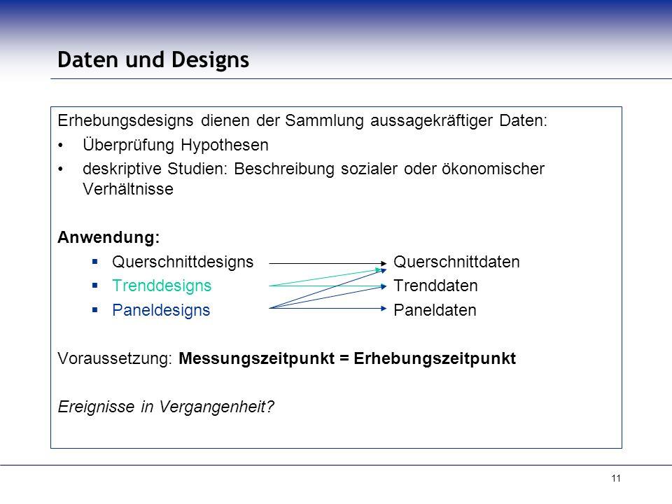 11 Daten und Designs Erhebungsdesigns dienen der Sammlung aussagekräftiger Daten: Überprüfung Hypothesen deskriptive Studien: Beschreibung sozialer od
