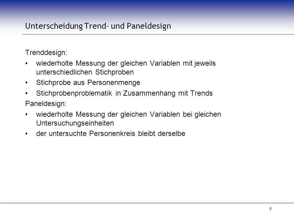 6 Unterscheidung Trend- und Paneldesign Trenddesign: wiederholte Messung der gleichen Variablen mit jeweils unterschiedlichen Stichproben Stichprobe a