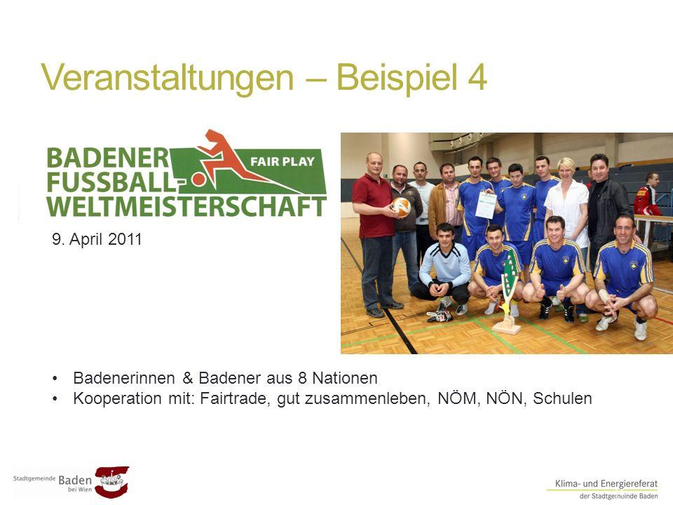 Veranstaltungen – Beispiel 4 ##11 Badenerinnen & Badener aus 8 Nationen Kooperation mit: Fairtrade, gut zusammenleben, NÖM, NÖN, Schulen 9. April 2011