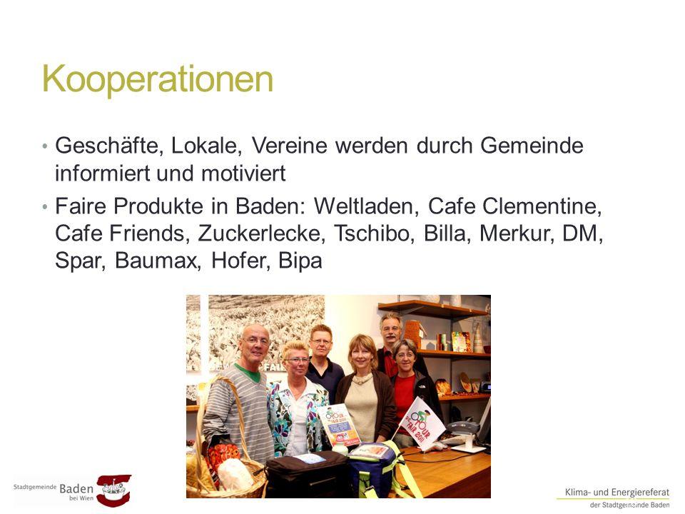 Kooperationen ##13 Geschäfte, Lokale, Vereine werden durch Gemeinde informiert und motiviert Faire Produkte in Baden: Weltladen, Cafe Clementine, Cafe Friends, Zuckerlecke, Tschibo, Billa, Merkur, DM, Spar, Baumax, Hofer, Bipa