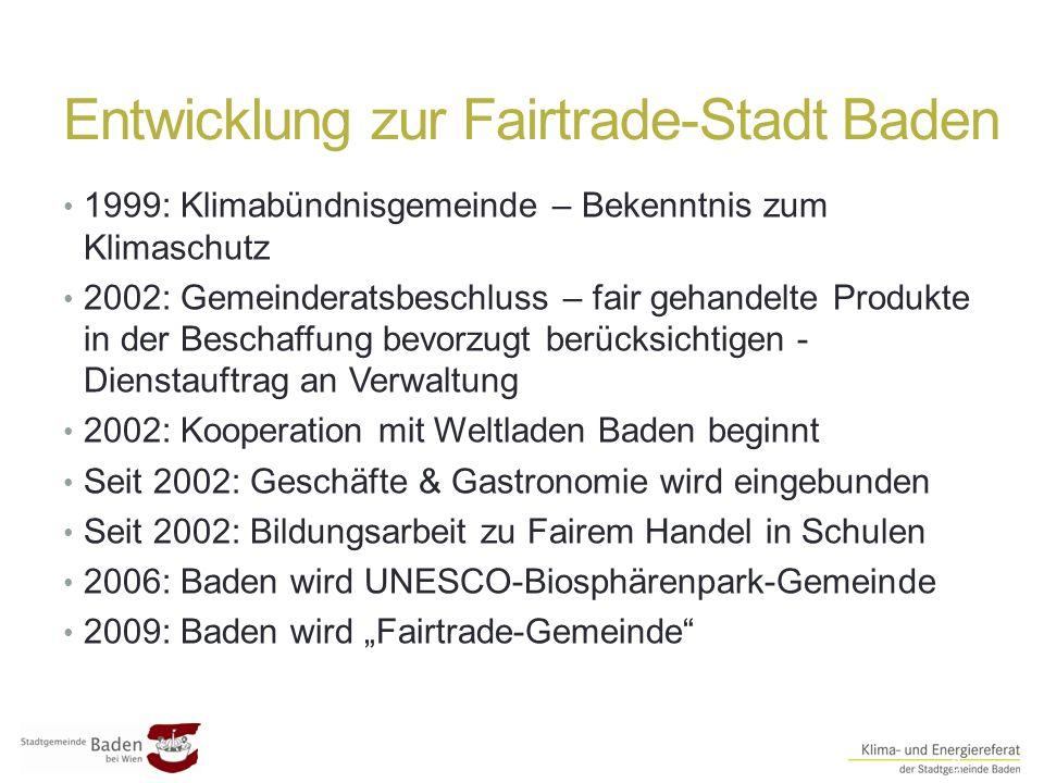 Entwicklung zur Fairtrade-Stadt Baden ##3 1999: Klimabündnisgemeinde – Bekenntnis zum Klimaschutz 2002: Gemeinderatsbeschluss – fair gehandelte Produk