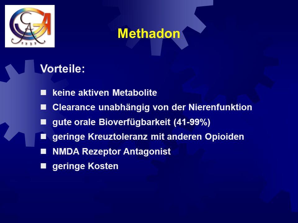 Starke Opioide Levo - Methadon initial: 2,5 mg / (6) - 8 h L-Polamidon ® Hoechst 1 ml Lösung = 5mg cave: sorgfältige Überwachung des Patienten in der Titrationsphase wegen möglicher Kumulation.