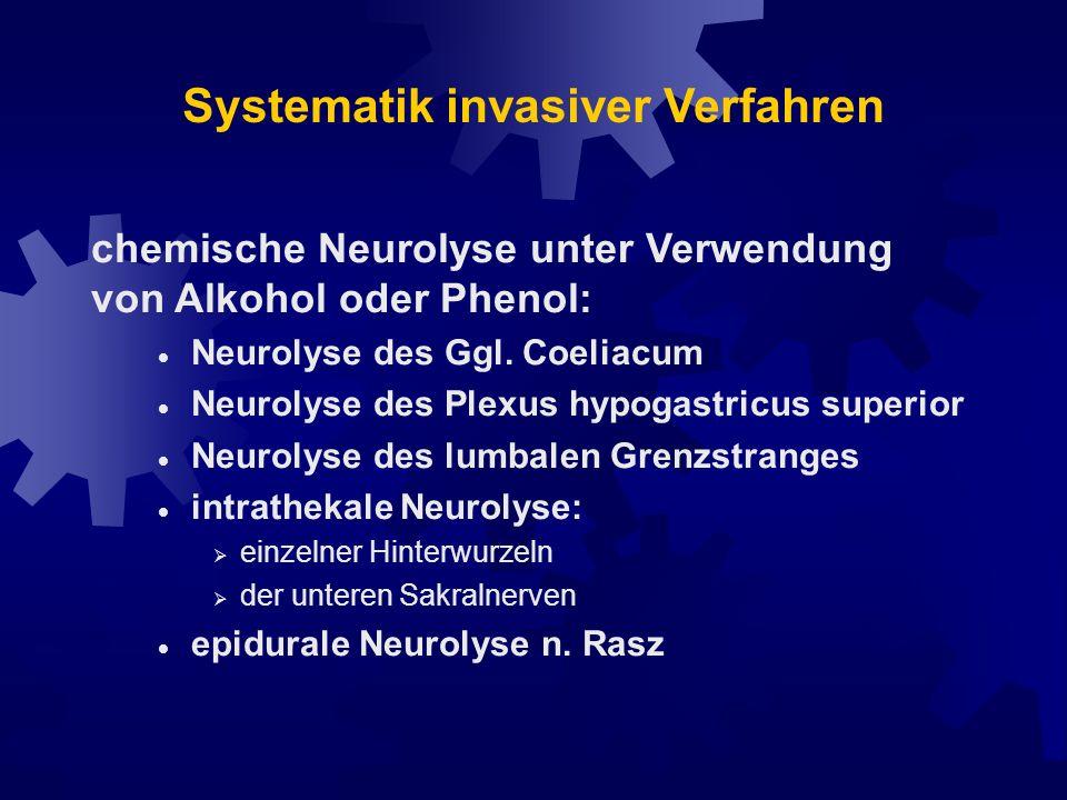 Systematik invasiver Verfahren nperiphere Nerven- bzw.