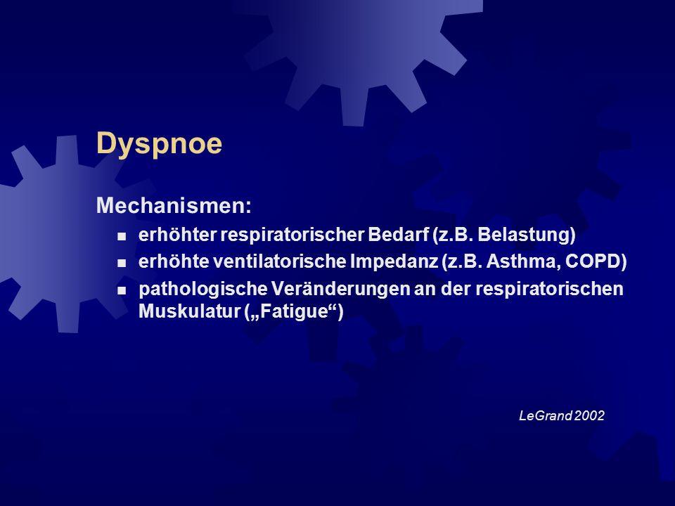 Dyspnoe Formen: Ruhedyspnoe Belastungsdyspnoe situative Dyspnoe Diagnosestellung durch Anamnese und körperliche Untersuchung; Funktionstests, BGA etc.