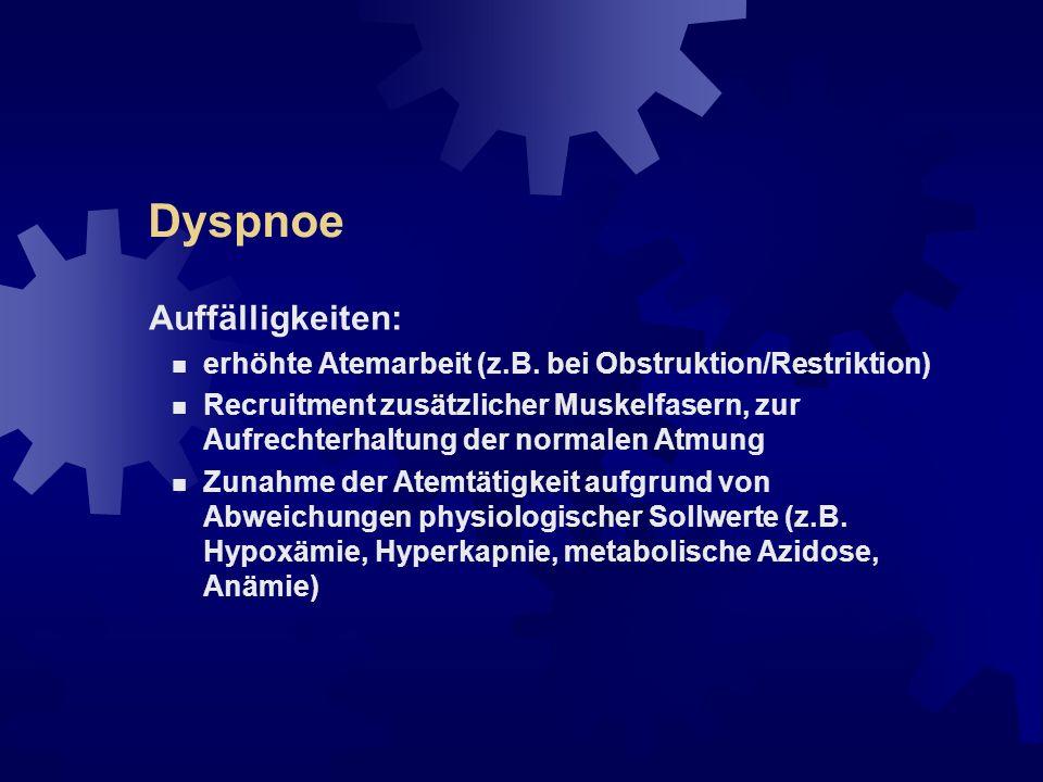 Dyspnoe Mechanismen: erhöhter respiratorischer Bedarf (z.B.