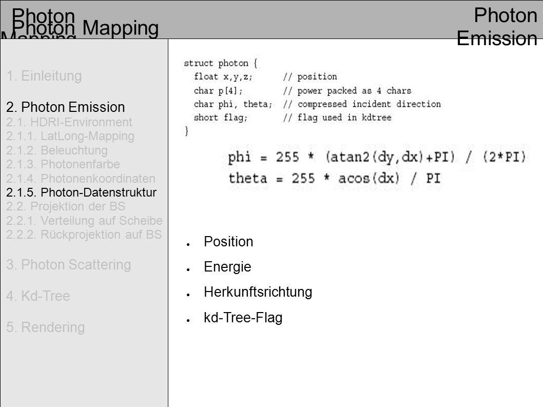 Photon Mapping Photon Emission Photon Mapping 1. Einleitung 2.