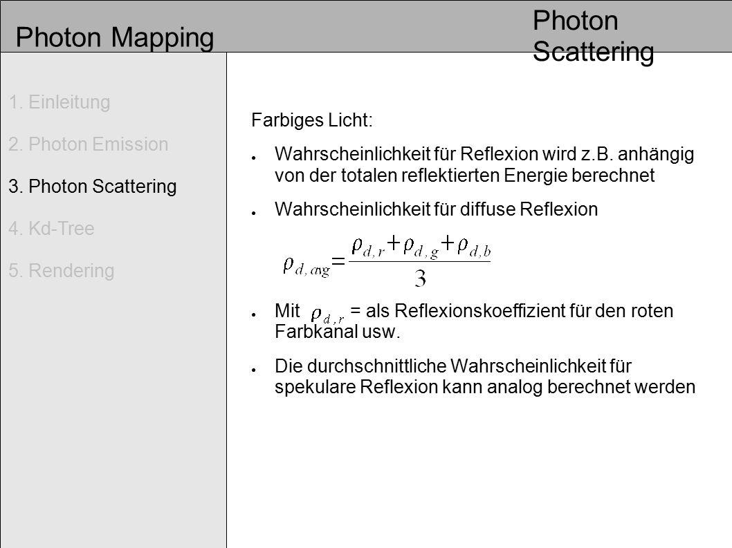 Photon Mapping ● Wahrscheinlichkeit für Absorption: Entscheidung wird getroffen über: diffuse Reflexion spekulare Reflexion Absorption Photon Scattering 1.