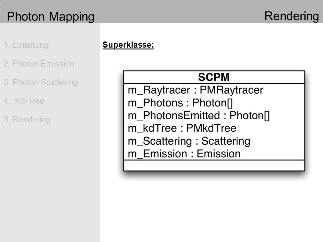 Photon Mapping 1. Einleitung 2. Photon Emission 3. Photon Scattering 4.. Kd-Tree 5. Rendering Rendering Superklasse: