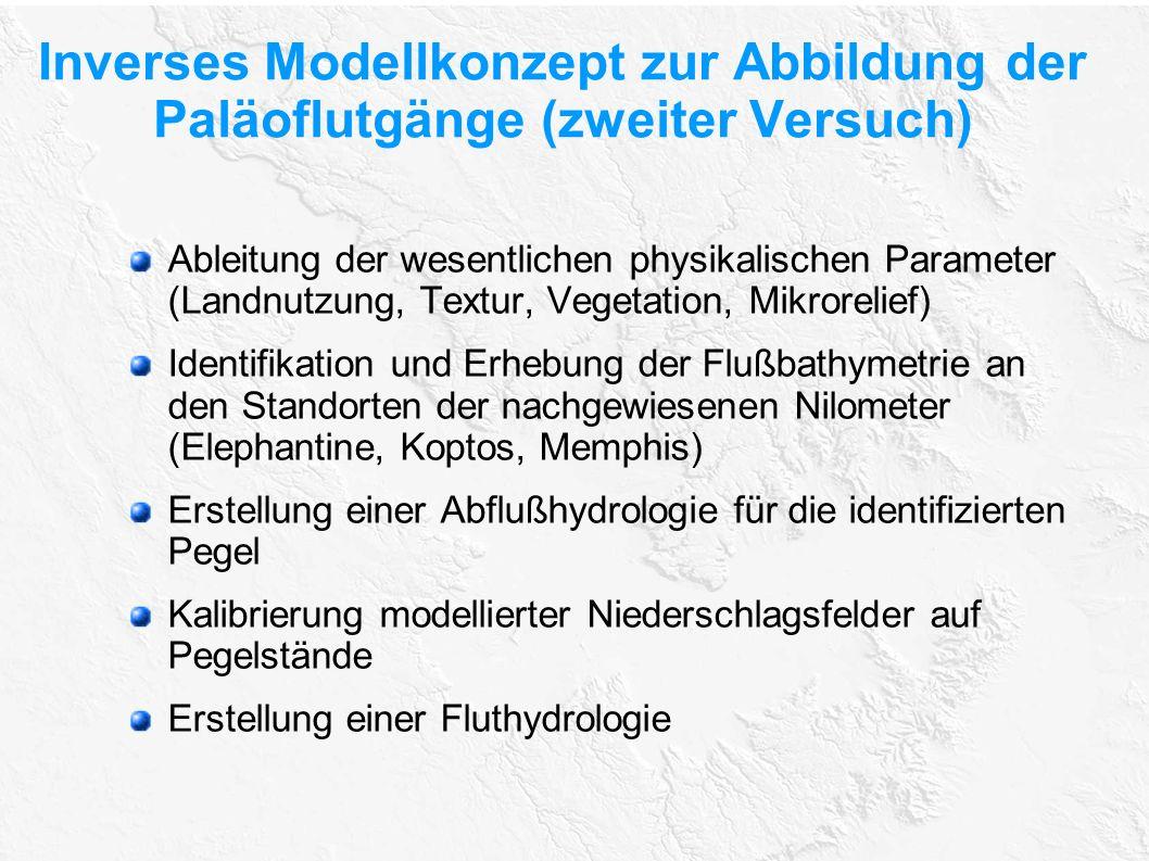 Inverses Modellkonzept zur Abbildung der Paläoflutgänge (zweiter Versuch) Ableitung der wesentlichen physikalischen Parameter (Landnutzung, Textur, Ve