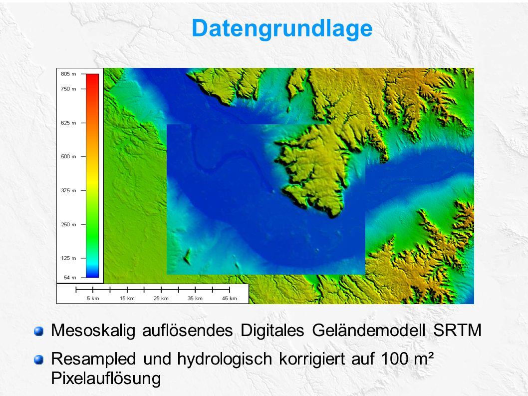 Datengrundlage Mesoskalig auflösendes Digitales Geländemodell SRTM Resampled und hydrologisch korrigiert auf 100 m² Pixelauflösung