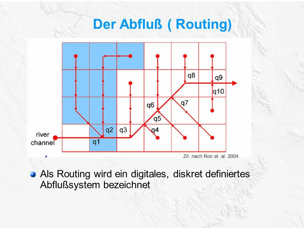 Der Abfluß ( Routing) Als Routing wird ein digitales, diskret definiertes Abflußsystem bezeichnet Zit. nach Roo et.al. 2004