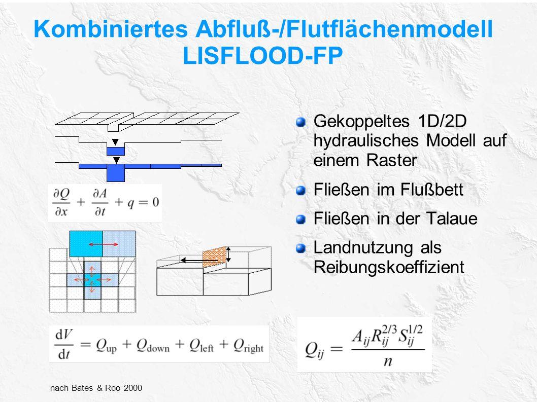 Kombiniertes Abfluß-/Flutflächenmodell LISFLOOD-FP Gekoppeltes 1D/2D hydraulisches Modell auf einem Raster Fließen im Flußbett Fließen in der Talaue L