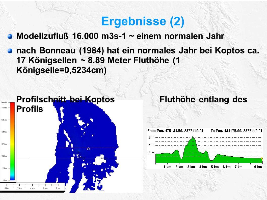 Ergebnisse (2) Modellzufluß 16.000 m3s-1 ~ einem normalen Jahr nach Bonneau (1984) hat ein normales Jahr bei Koptos ca. 17 Königsellen ~ 8.89 Meter Fl