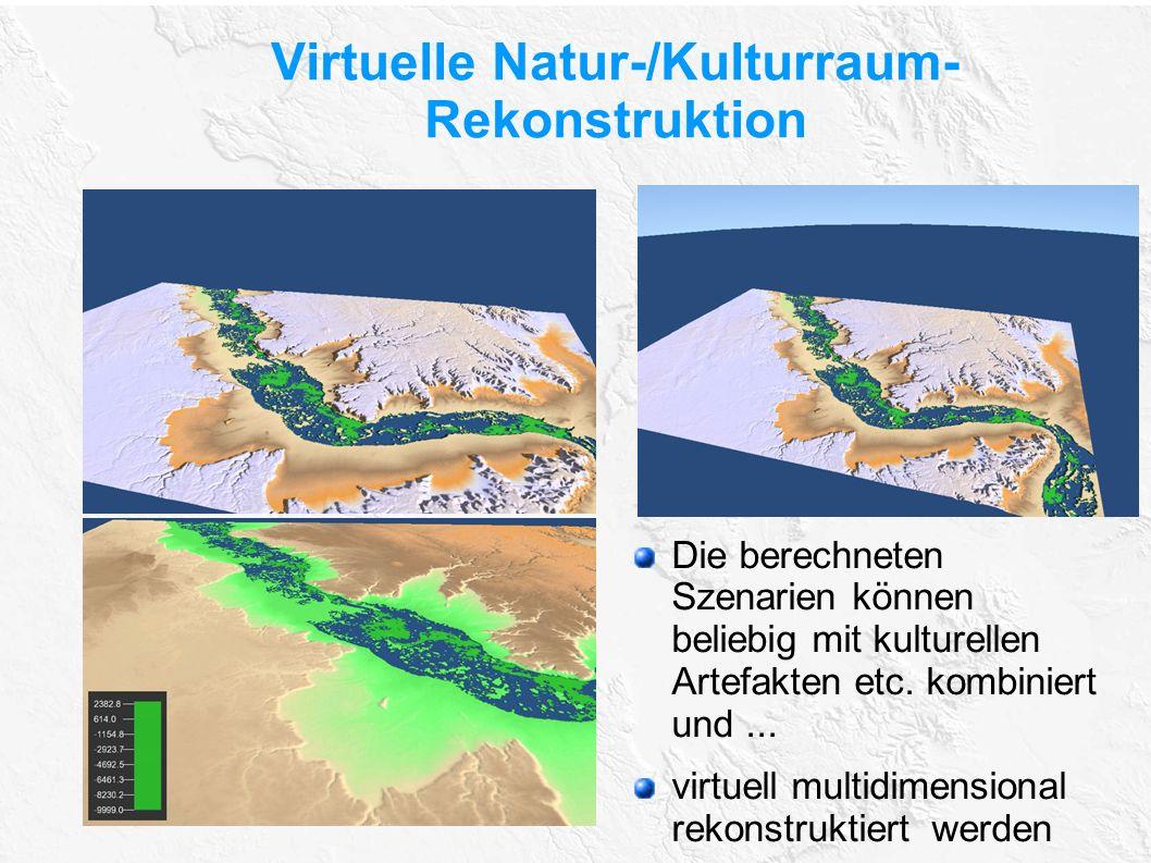 Virtuelle Natur-/Kulturraum- Rekonstruktion Die berechneten Szenarien können beliebig mit kulturellen Artefakten etc. kombiniert und... virtuell multi