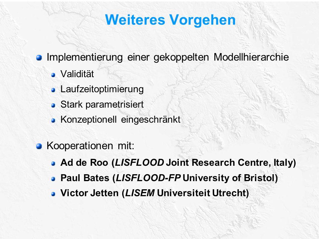 Weiteres Vorgehen Implementierung einer gekoppelten Modellhierarchie Validität Laufzeitoptimierung Stark parametrisiert Konzeptionell eingeschränkt Ko