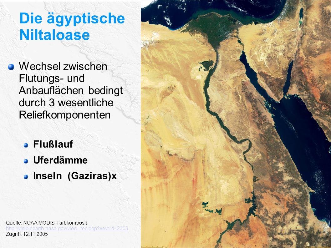 Die ägyptische Niltaloase Quelle: NOAA MODIS Farbkomposit http://visibleearth.nasa.gov/view_rec.php?vev1id=2303 Zugriff: 12.11.2005 Wechsel zwischen F