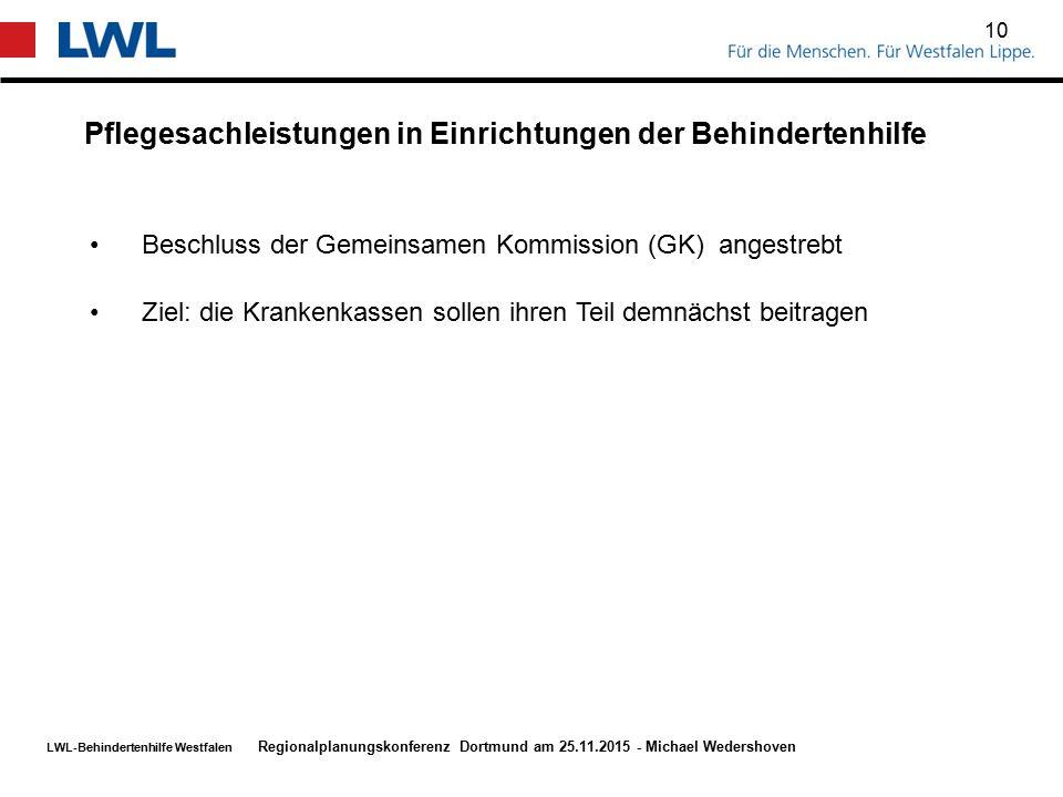 LWL-Behindertenhilfe Westfalen Pflegesachleistungen in Einrichtungen der Behindertenhilfe 10 Regionalplanungskonferenz Dortmund am 25.11.2015 - Michae