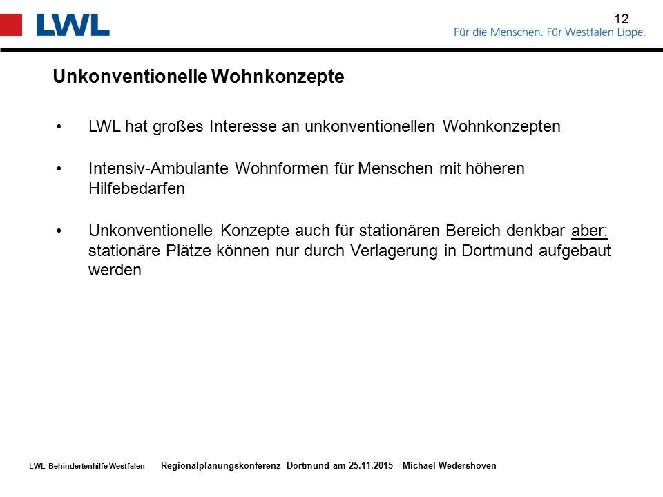 LWL-Behindertenhilfe Westfalen Unkonventionelle Wohnkonzepte 12 Regionalplanungskonferenz Dortmund am 25.11.2015 - Michael Wedershoven LWL hat großes