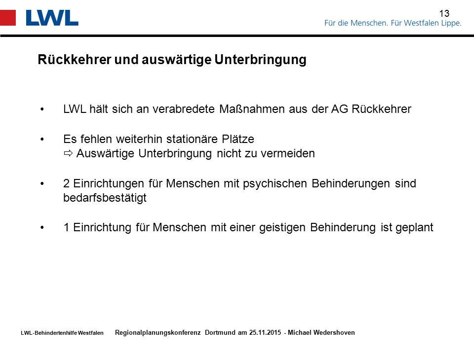 LWL-Behindertenhilfe Westfalen Rückkehrer und auswärtige Unterbringung 13 Regionalplanungskonferenz Dortmund am 25.11.2015 - Michael Wedershoven LWL h