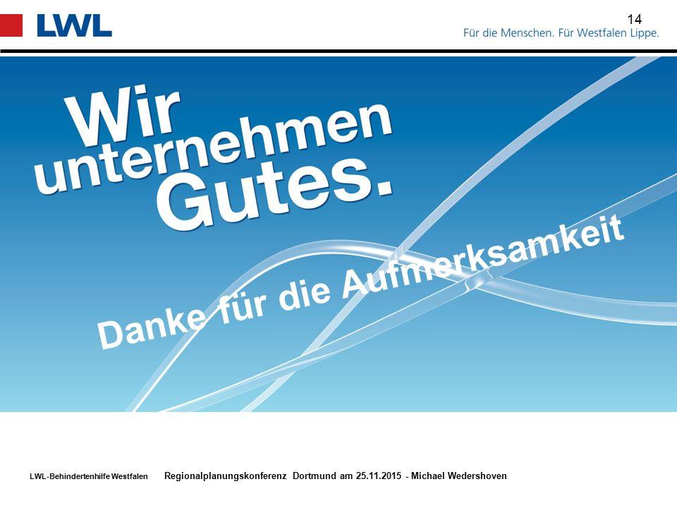 LWL-Behindertenhilfe Westfalen 14 Danke für die Aufmerksamkeit Regionalplanungskonferenz Dortmund am 25.11.2015 - Michael Wedershoven