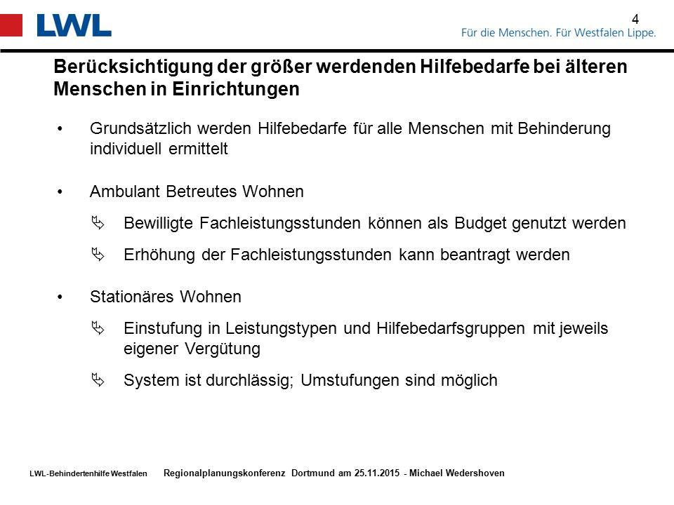 LWL-Behindertenhilfe Westfalen Berücksichtigung der größer werdenden Hilfebedarfe bei älteren Menschen in Einrichtungen 4 Regionalplanungskonferenz Do